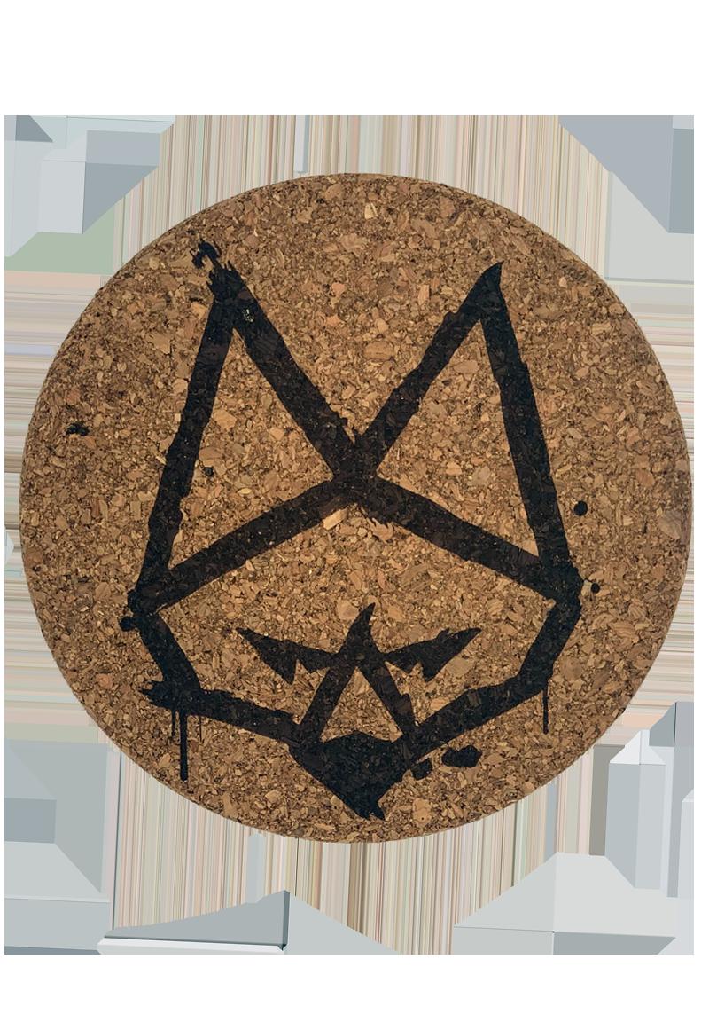 Antifuchs Logokopf auf der Oberseite der Bongmatte