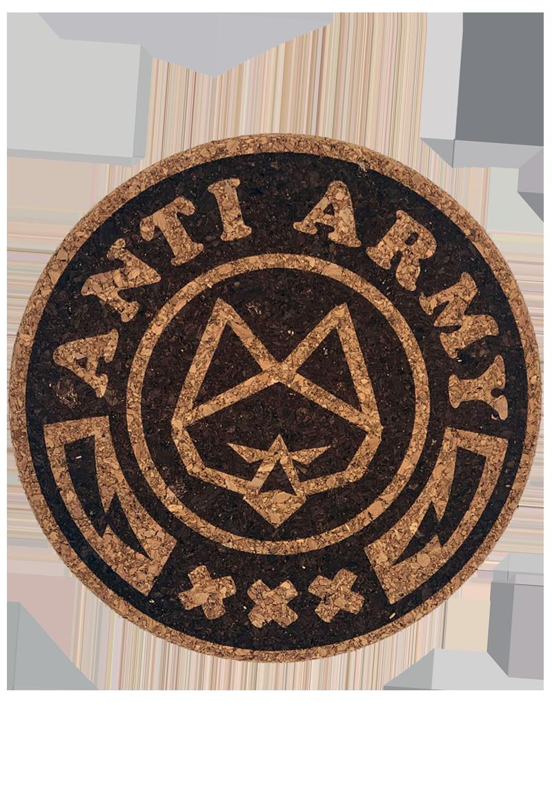 Anti Army Logo auf der Unterseite der Bongmatte