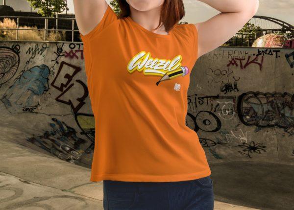 Hombre Damen Logoshirt creative weezel Orange Model render front