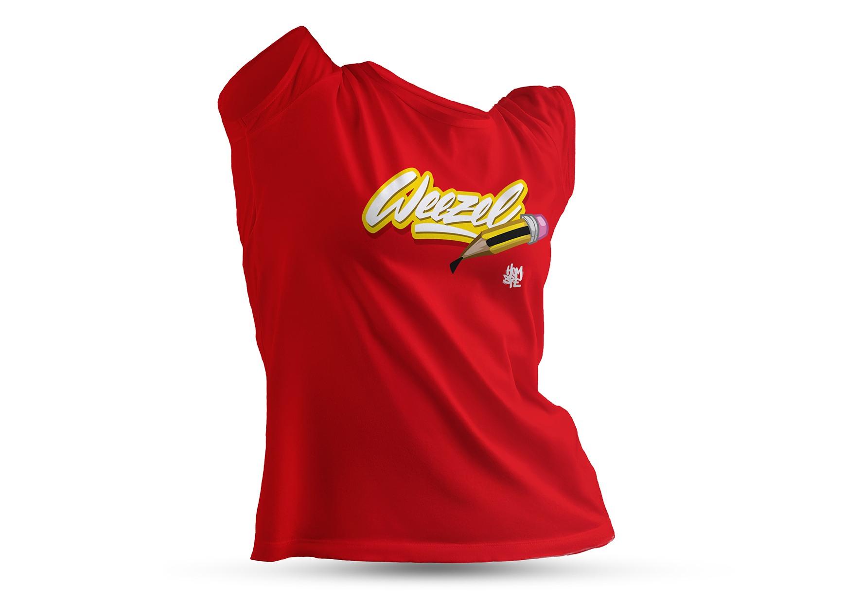 Hombre Damen Logoshirt creative weezel Rot Büste render front