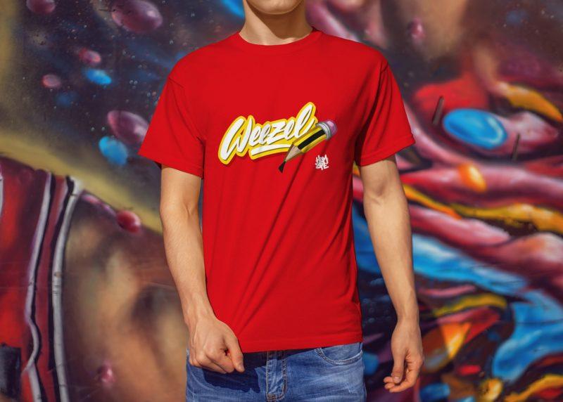 Hombre Logoshirt creative weezel rot Model render front