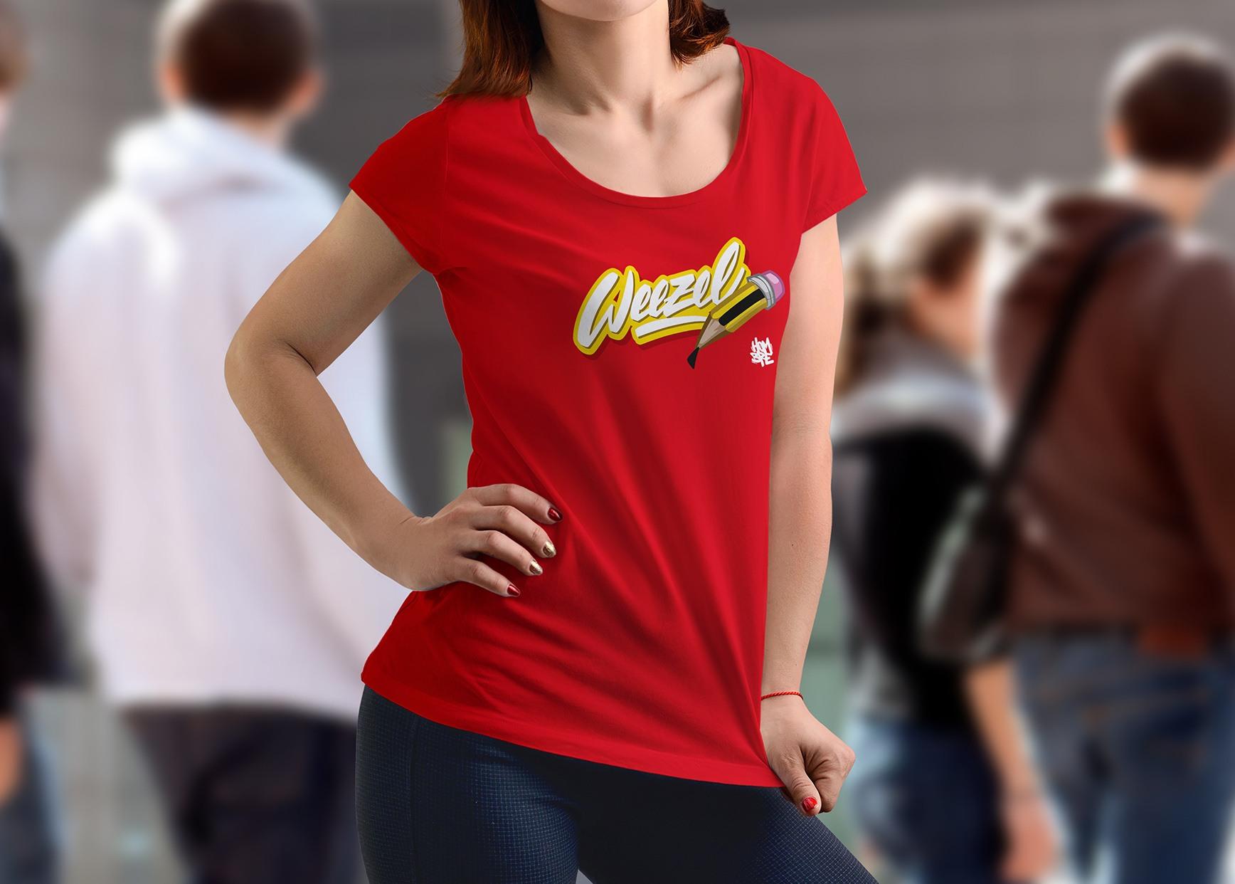 Hombre Damen Logoshirt creative weezel Rot Model render front
