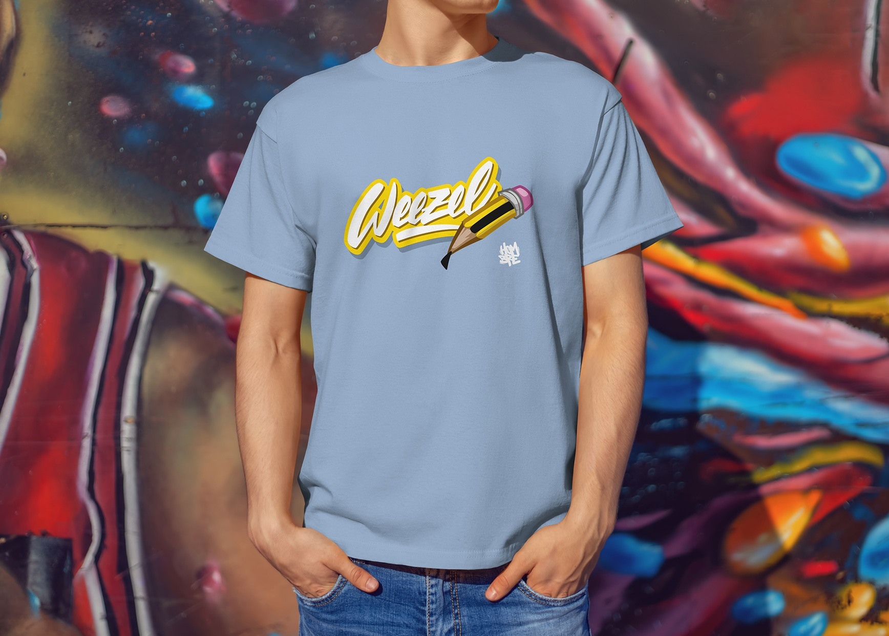 Hombre Logoshirt creative weezel sky Model render front