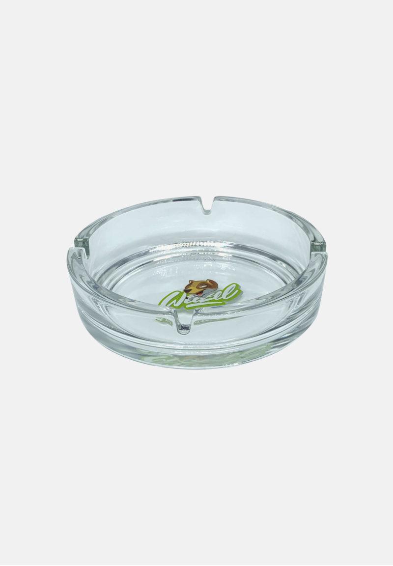 Glas Aschenbecher von weezel mit weezel logokopf gross