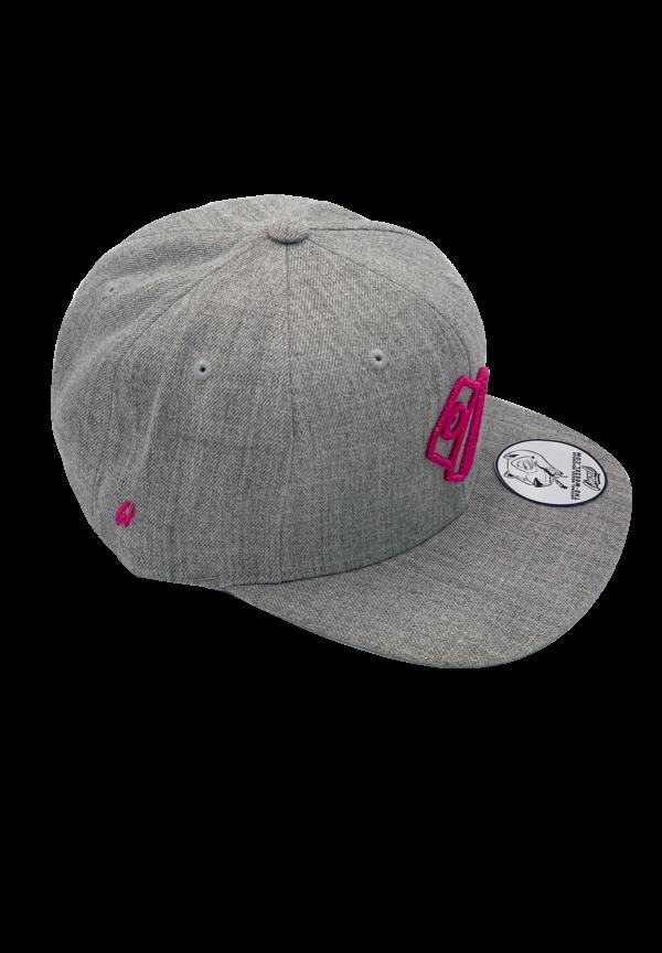 Aura Aerosole Graffiti Snapback grau mit pinkem Stick