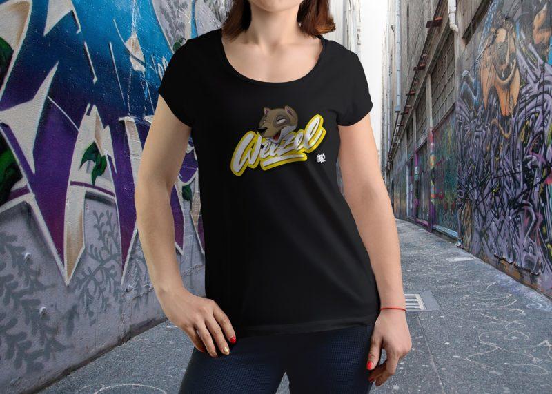 Hombre Damen Logoshirt smokey weezel Schwarz Model render front