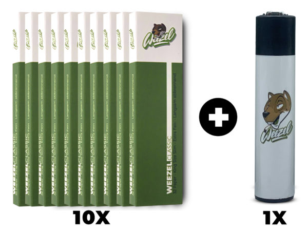 Weezel Smoker Pack Set. King Size Slim Longpaper, exklusive Clipper-Feuerzeuge. Classic Green Set