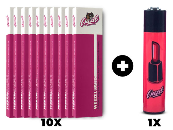Weezel Smoker Pack Set. King Size Slim Longpaper, exklusive Clipper-Feuerzeuge. Sick Pink Set