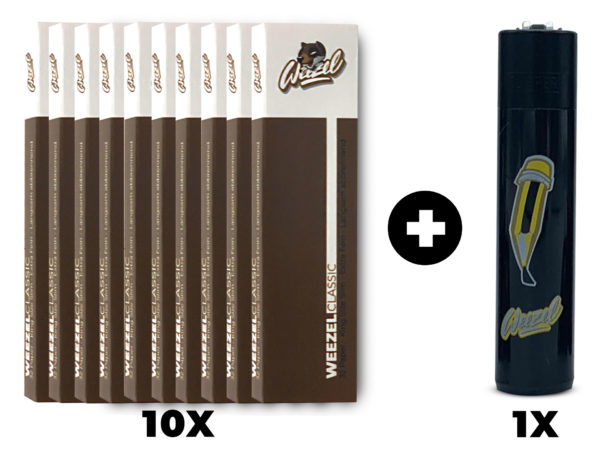 Weezel Smoker Pack Set. King Size Slim Longpaper, exklusive Clipper-Feuerzeuge. Unbleached Ungebleicht Braun Set
