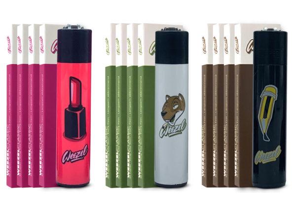 Weezel Smoker Pack Set. King Size Slim Longpaper, exklusive Clipper-Feuerzeuge. HOMBRE S.U.K. Mix