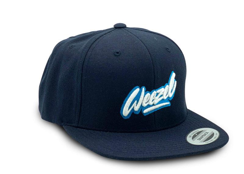 weezel logo snapback Kappe Paperboy Blau Frontansicht